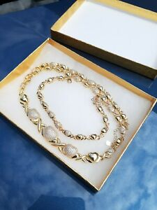 Hugs and Kisses XOXO Heart Real 14k Layered Gold Necklace and Bracelet 2Pcs Set