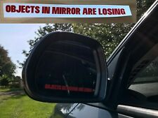 2 x Objects In Mirror Are Losing Car Novelty Decal Sticker - Red
