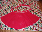 Vintage CHRISTMAS APRON to Embroider Craft SEW Red Cotton Half Apron Girl Woman