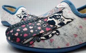 Ladies Slipper  -  DeValverde - 6015 Ducados  & Gris (Removeable Footbed) Cats