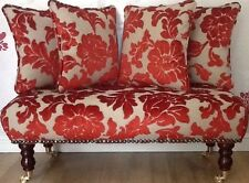 Long Footstool Stool & 4 Cushions Laura Ashley Katherine Cinnamon Velvet Fabric