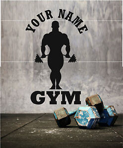 GYM THEMED WITH ANY NAME Wall Art Stickers decal design