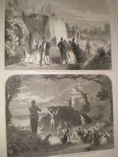 Dublin International Exhibition cascade in garden & Pan at Adelphi 1865 prints