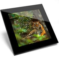1 x Beautiful Jungle Tiger Glass Coaster - Kitchen Student Quality Gift #8842
