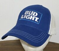 BUD LIGHT Beer Trucker Blue Hat Logo Patch Snapback Baseball Cap White Mesh NEW