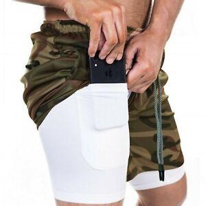 Shorts 2 en 1 para correr para hombre, Compression con bolsillo para tu celular