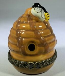 Bee Hive Trinket Box Hinged Lid Painted Porcelain