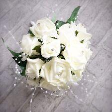 Artificial Wedding Bridal Bouquet Foam Faux Ivory Rose Flowers