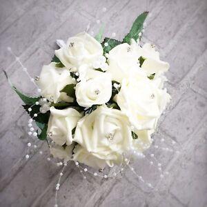 Artificial Wedding Bridal Bouquet Foam Faux Ivory Rose Flowers & Diamante