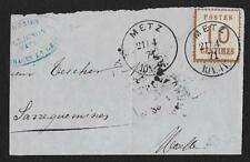 ALSACE LORRAINE N°5 METZ MOSELLE 21.04.1871 GRAND FRAGMENT DE LETTRE COVER BRIEF