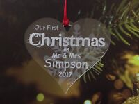 Personalised first  1st Christmas Mr & Mrs Decoration Tree  Xmas  Bauble Engrave