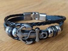 Armband Bracelet -Surfer Style- Anker Leder Unisex Herren Frauen Männer -NEU-OVP