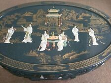 Used Jade Green Oriental Coffee Table Inlaid Pearl and Jade with Six Stools