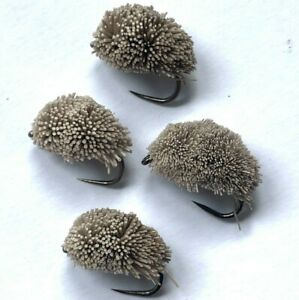 4, 6 or 8 Carp Fishing fly GREY BISCUIT biscuit bread flake BARBED or BARBLESS