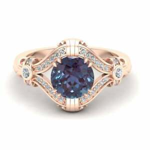 3.20Ct Round Cut Alexandrite Twisted Halo Engagement Ring 14K Rose Gold Finish