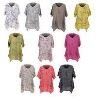 Ladies Italian Floral Top Women's Lagenlook Printed Linen Tunic Dress Shirt Plus