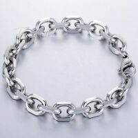 Stainless Steel Bracelet Chain Rolo Link Silver Tone For Mens 2.5/3/4/6/10mm