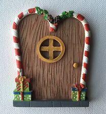 X-mas ELF DOOR Miniature Fairy Pixie Hobbit Gnome Christmas Candy Canes Shelf