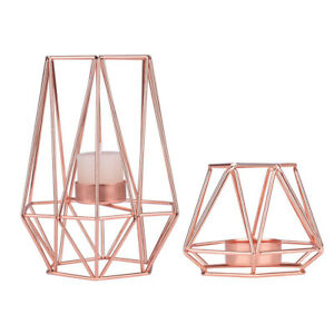 Decorative Rose Gold Geometric Tealight Candle Holder Tabletop Holiday Gifts
