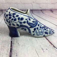 "Porcelain Shoe Figurine Blue and White Floral Design Decorative - 7"" L"