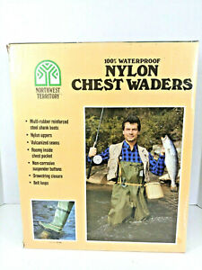 Northwest Territory Mens Waterproof Nylon Chest Waders Boots Size 9 SEE DESCRIP!