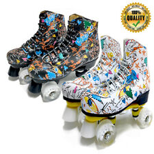 Graffiti Roller Skates Double Line Skates Women Men Adult Skating Shoes 4 Wheels