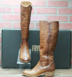 *Frye Women New Carson Piping Tall Boots Extended Calf 70357 Caramel Size 7 M