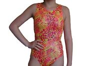 New girls gymnastic leotard neon metallic animal print