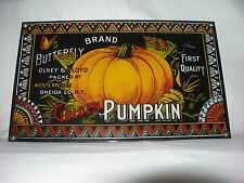 Vintage Fall PORCELAIN PUMPKIN SIGN~Primitive-Farmhouse Thanksgiving Decor-signd