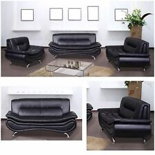 Black Modern Bonded Leather Sofa Set Set