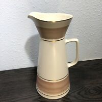 """Hyalyn NC Pottery Pitcher Vase 645 10 1/2"""" Cream With Gold, Brown Banding  MCM"""