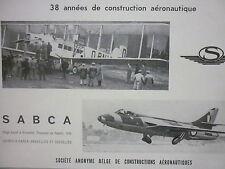 6/1958 PUB SABCA SA BELGE CONSTRUCTIONS AERONAUTIQUES HAWKER HUNTER ORIGINAL AD