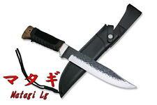"Kanetsune Lrg Matagi 15"" Fixed Blade Beech Wood Handle & Leather Sheath KB-147"