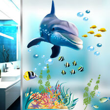 Bathroom Kitchen Wall Sticker Dolphin Fish Aquarium Ocean Window Stickers Mural