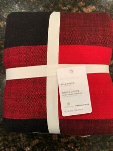 NEW Pottery Barn FULL QUEEN Bryce Check Duvet Cover Red / Black