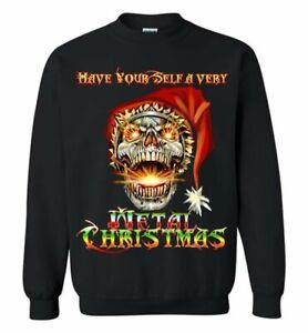 Skull Santa Heavy Metal Christmas Holiday Sweat Shirt Funny Sweater