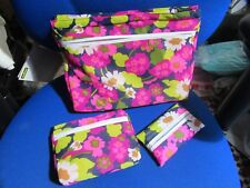 Pretty funky vintage purse make up bag, set of two with tissue holder.  60s 70s