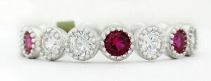 GEMSTONE RUBY & WHITE SAPPHIRES ETERNITY RING .925 Silver NWT Size 7.5