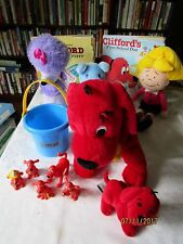CLIFFORD , NWT Cleo,Emily , Max blue dog,5 plastic dogs, ,2 books