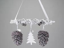 Hänger Zweige weis Weihnachten Zapfen Glöckchen Baum Deko Dekoration formano Neu
