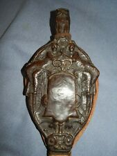 ANTIQUE ARTS & CRAFTS TOOLED LEATHER & WOOD BELLOWS ~ OWL & MAIDENS DECOR ~ AF
