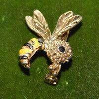 Vintage Gerrys Enamel Hornet Honey Bee Insect Gold tone Brooch Pin 5k 37