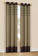 Set of Two Window Curtain Panels: Brown & Taupe, Embroidered, Grommets, 76x84