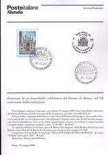 ITALIA 2000 DUOMO DI MONZA  BOLLETTINO COMPLETO DI FRANCOBOLLI FDC