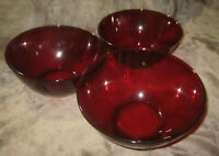 "Arcoroc 4"" Tall x 7"" Ruby Red Larger Glass Bowls Lot of Three Serving Bowls-3Lot"