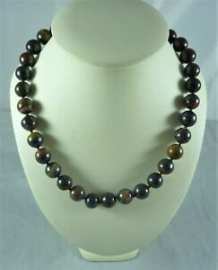 FABULOUS NEW UNUSED 12MM TIGER EYE BEADS NECKLACE 9K/CT YGOLD CLA SP ST#16322