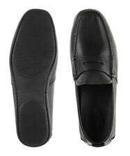 FERRAGAMO Uomo Nero Pelle Mocassino Slip On Scarpa Mocassino taglia UK 5-USA 5.5 PENNINO