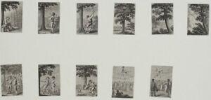 Seiltänzer Baumfällung Jagd Bäume - 11 Radierungen Buch-Illustrationen - 1780