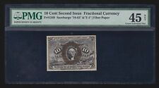 Us 10c Fractional Currency 2nd Issue Fiber Paper Fr 1249 Pmg 45 Net Ch Xf