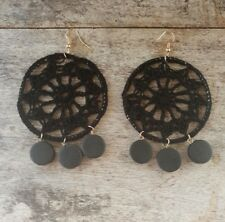 BLACK CROCHET MACRAME GYPSY DREAMCATCHER LIGHT CHANDELIER HIPPY EARRINGS